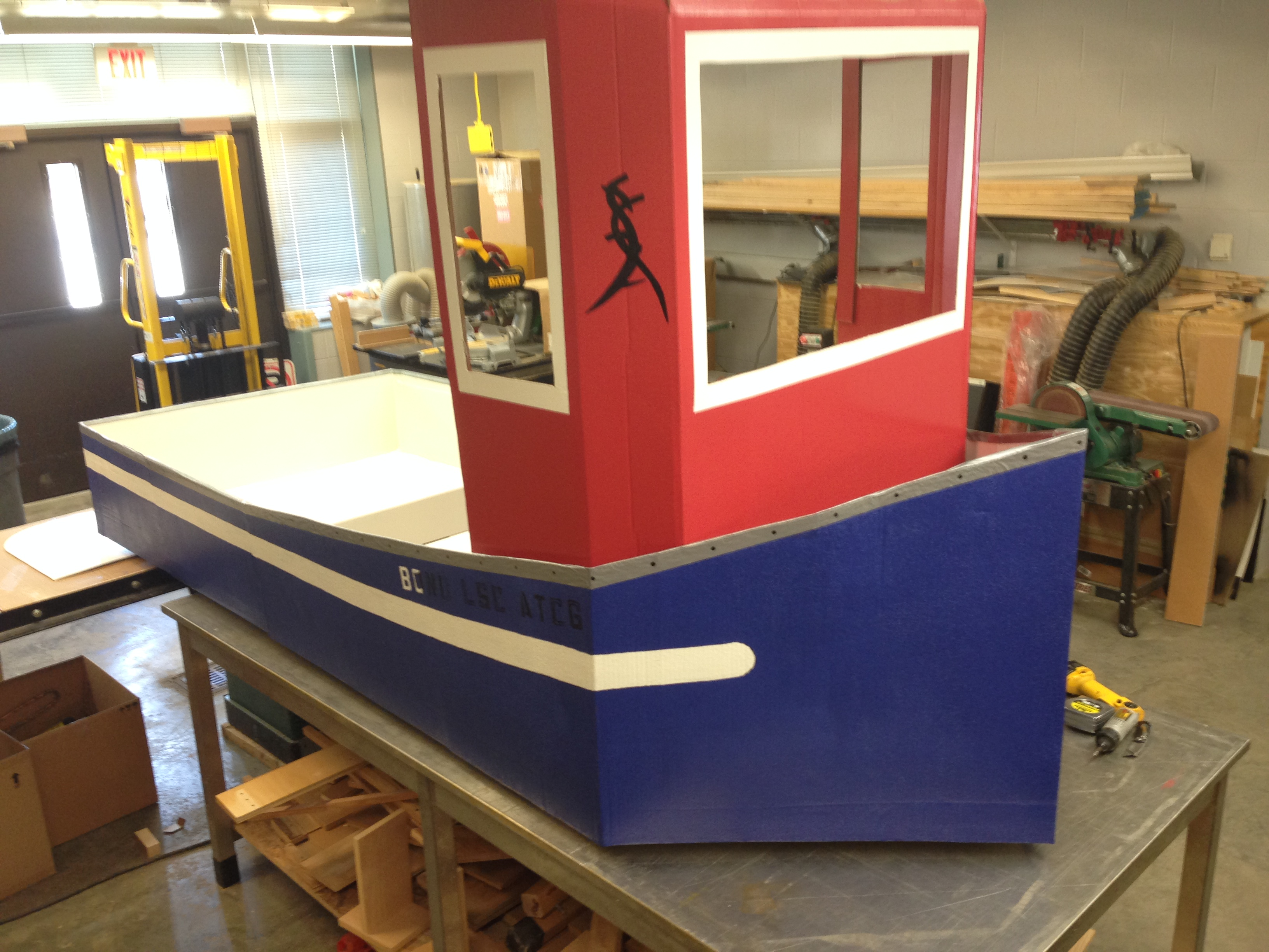 Made completely of cardboard and Popeye themed, Bond LSC facilities crew say this boat could be the winner of the 3rd Annual Flot Your Boat for the Food Bank Race on April 12 — BLANKENBUEHLER