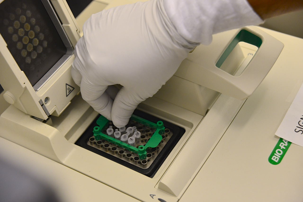 Specimen of protein are prepared for an experiment in a lab at the Bond Life Sciences Center at the University of Missouri.
