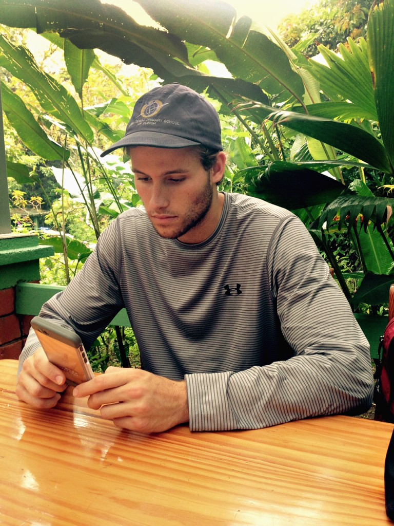 An MU student uses his cell phone while in Costa Rica. | Photo by Jack Schultz, Bond LSC