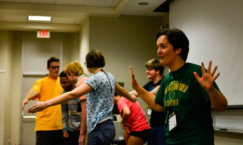 "On the final day of the  Summers @ Mizzou camp ""The Arts as a Portal to Science Communication,"" the students performed theatrical and literary interpretations of the science they studied. //photo by CALEB O'BRIEN/BondLSC"